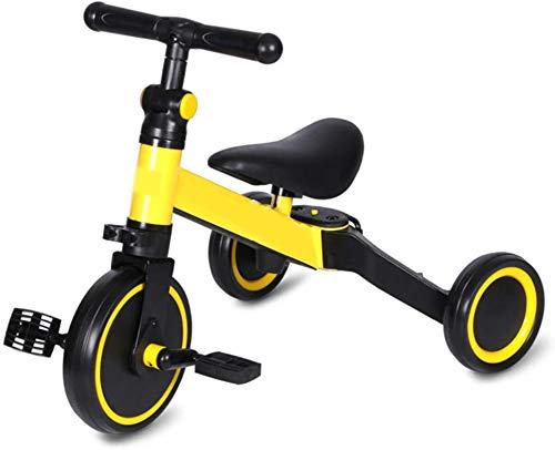 3 en 1 Bicicletas de Equilibrio para bebés, triunos para niños pequeños para niños y niñas de 1.5 a 5 años, triún Plegable Multifuncional con Pedales Desmontables y Ruedas auxiliares