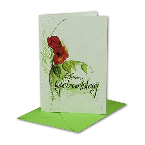 Geburtstagskarten Set 10 Stück mit Umschlag Grün DIN B6 - Motiv Aquarell Mohnblume Rot Grün - Zum Geburtstag - Glückwunschkarte Geburtstag Klappkarte