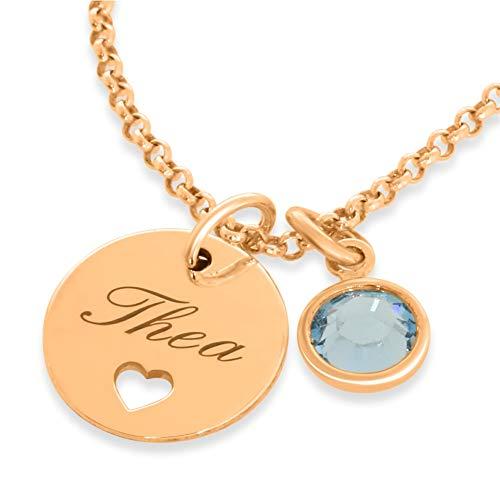 Rosegold Kette Geburt Namenskette mit Herz aus 925 Sterling Silber ❤️ Goldkette mit Namen ❤️ moderne Kette mit Gravur Taufe personalisiert Name | HANDMADE IN GERMANY