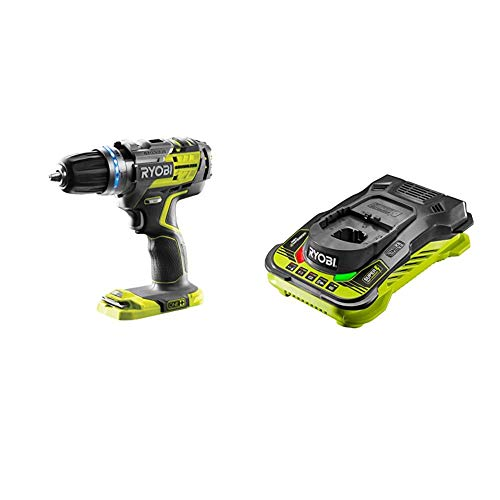Ryobi R18PDBL-0 ONE+ Cordless Brushless Percussion Drill (Body Only), 18 V & RC18150 18V ONE+ Cordless 5.0A Battery Charger