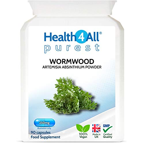 Wormwood 250mg 90 Capsules (V) Purest: no additives. Vegan. Made by Health4All