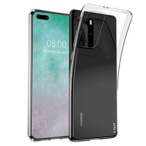J&D Case Compatible for Huawei P40 Pro Case, [Ultra-Slim] [Lightweight] Ultra-Clear Shock Resistant Protective Rubber Silicone Bumper Case for Huawei P40 Pro Cover - Transparent