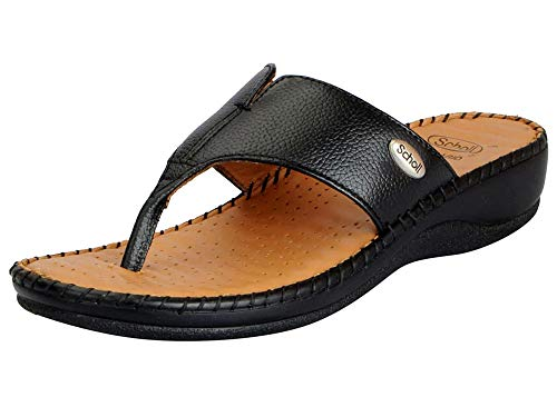 Dr. Scholl's 674-6451-38 Women's Black Leather Slip On Slippers (5 UK)