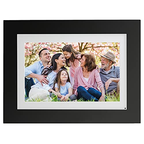 """Brookstone PhotoShare 10"""" Smart Digital Picture Frame, Send Pics from Phone to Frames, WiFi, 8 GB, Holds 5,000+ Pics, HD Touchscreen, Premium Black Wood, Easy 1-min Setup"""