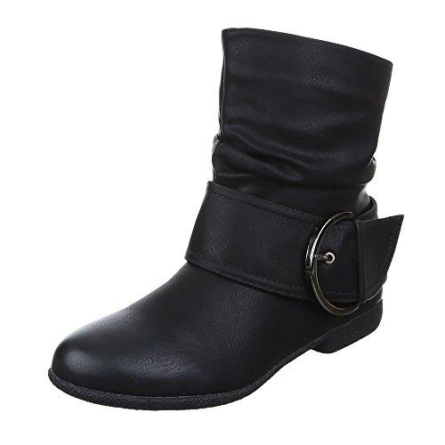 JUMEX Damen Stiefeletten Western Stiefel Cowboy Boots Flache Schlupfstiefel Schuhe 002 (36, Schwarz)