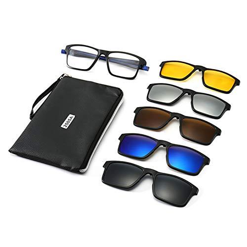 QAZPL Gafas de Sol magnéticas de 5 Piezas Polarizadas, UV400 TR90, se Pueden equipar con Espejo de miopía, Hebilla/imán, con Bolso portátil (2505a) (Color : Blue)