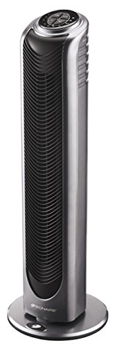 Bionaire Oscillating Tower Fan with Remote Control & Timer, Silver/Black [BT19]