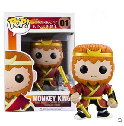POP Monkey King Monkey King Q version shaking head car hand-run model doll model-10cm modelo de muñeca de juguete, decoración de coches y decoración del hogar