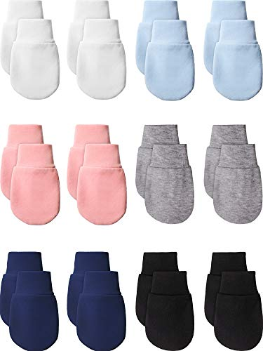 14 Pairs Newborn Baby Mittens Gloves Cotton Infant Toddler No Scratch Mittens for 0-6 Months Baby Boys Girls (Multi-Color)