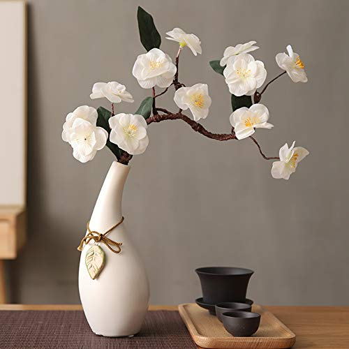 GANHUA Japanse Zen thuis hand simulatie kersenbloesem pruim bloesem decoratieve ornamenten hanger keramische vaas set Large white + white flower