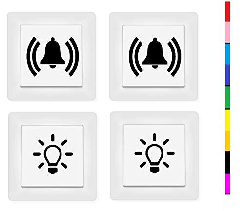 generisch 2X Licht Schalter und 2X Glocken Schalter Aufkleber Schalteraufkleber (131/5/2) (dunkelgrau matt)