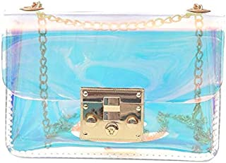 Gimax Shoulder Bags - Heba Hot Sale Women Transparent Bag Clear PVC Jelly Small Tote Messenger Bags Laser-Holographic Shoulder Bags Female Lady Sac - (Color: Colorful)