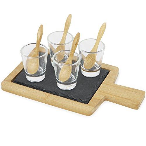 com-four® 10-teiliges Vorspeisen Set, Amuse Gueule Set aus Tablett mit Schieferplatte, Gläser und Löffel (09-tlg - Amuse Gueule Set)