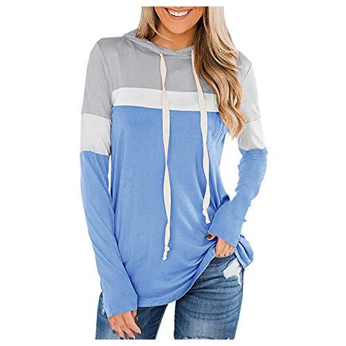 VEMOW Sudaderas Mujer con Capucha Bloque de Color a Rayas Camiseta de Manga Larga Túnica Suéter con Cordón Tops con Bolsillos, Elegantes Moda Hoodie Jersey Larga(B Azul Claro,3XL)