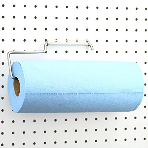Pegboard Paper Towel Holder - Stainless Steel - Hooks to Any Peg Board - Pegboard Organization Accessory - Add to Pegboard in Your Tool Shed, Garage, Workbench, Craft Room, Laundry Room, or Kitchen