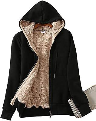 ZITY Womens Winter Fleece Jacket Coat Sherpa Lined Full Zip Up Hoodie Sweatshirt with Pocket 02-Black-L