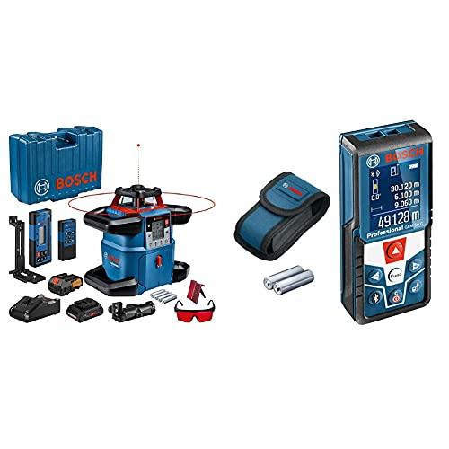 Bosch Professional 18V System Rotationslaser GRL 600 CHV (1x Akku 18 V, 4,0 Ah + ladegerät) & Laser Entfernungsmesser GLM 50 C (max. Messbereich: 50 m, 2x 1,5-V Batterien, Schutztasche)