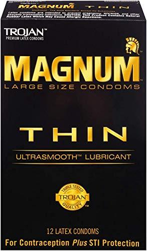 Trojan MAGNUM Thin Ultrasmooth Lubricant Condoms, 12 count