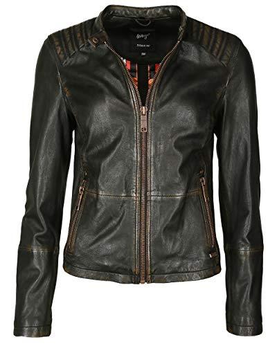 Maze Damen Lederjacke Mit Farbigem Innenfutter 42020117 Black Copper L Black