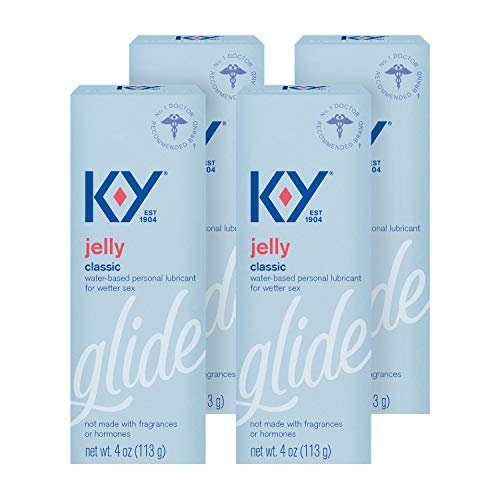 K-Y Jelly Lube, Personal Lubricant, Water-Based Formula, For Men, Women and Couples, 4 FL OZ (Pack of 4)