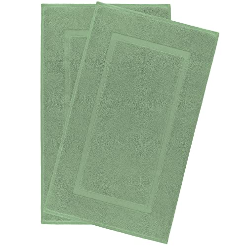 900 GSM Machine Washable 20x34 Inches 2-Pack Banded Bath Mats, Luxury Hotel & Spa Quality, Ringspun Cotton, Maximum Softness & Absorbency by United Home Textile, Sage Green