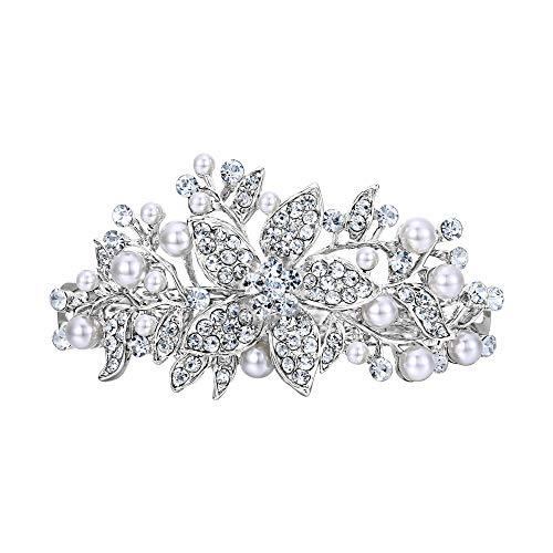 EVER FAITH® österreichischen Kristall künstliche Perle elegant Haarschmuck Haarspange Silber-Ton