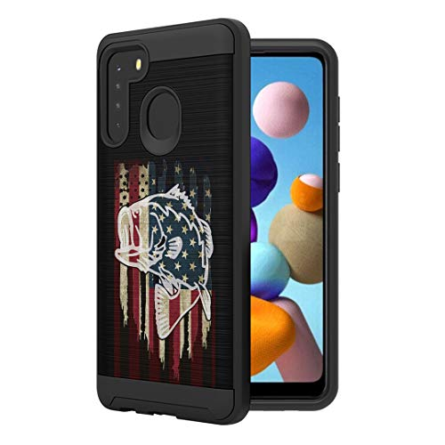 Moriko Case Compatible with Galaxy A21 [Cute Brushed Texture Shockproof Hybrid Slim Men Women Design Protective Black Case Phone Cover] for Samsung Galaxy A21 SM-A215U (Fishing USA Bass)