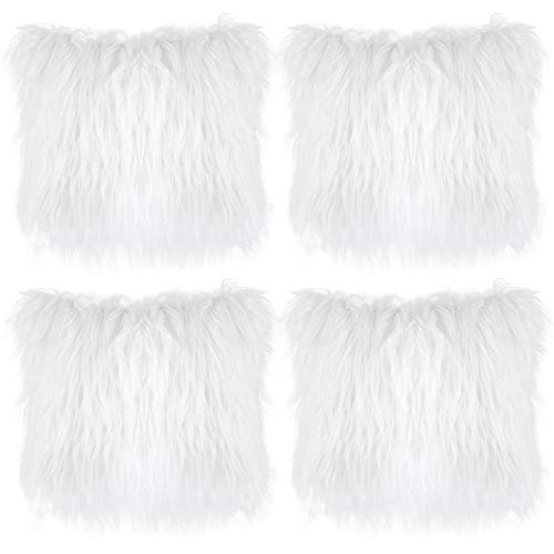 Aneco Pack of 4 18 x 18 Inches Faux Fur Throw Pillow Covers Fluffy Pillow Covers Fuzzy Cushion Cover Soft Plush Throw Pillows for Couch Sofa Bedroom, White