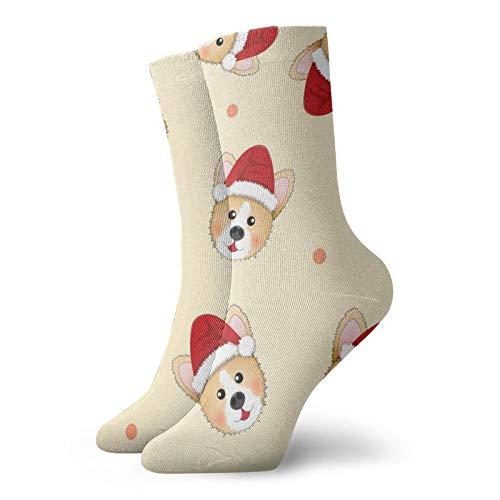 Calcetines de anime Corgi Santa Claus Sobre Beige Marfil Fondo Super suave de secado rápido transpirable calcetines deportivos unisex de la tripulación calcetines de 30 cm