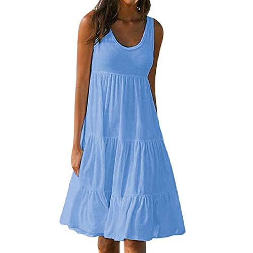 Damenkleid S-5XL Sommer Solid Sleeveless Casual O-Neck Damen Loose Kleider für Party Beach Holiday