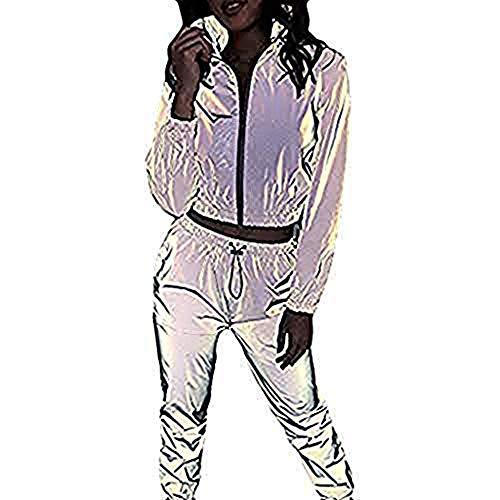 Mxjeeio Chándal Sexy Reflectante para Mujer Invierno otoño Casual Manga Larga Versión Nocturna Cremallera Crop Top + Pantalones Casuales Conjunto de Dos Piezas Cuello Redondo Manga Larga