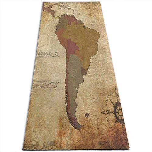 NA Oude Zuid-Amerika Kaart Yoga Mat-All-Purpose Hoge Dichtheid Antislip Oefening Speciale Yoga Matten voor Alle soorten Yoga, Pilates & Vloer Oefeningen (70