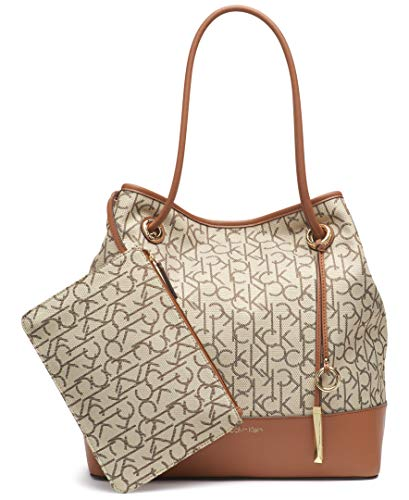 Calvin Klein Gabrianna Jacquard North/South Key Item Tote, Almond/Brown