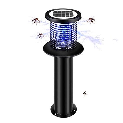 GRFH Lampe de moustique solaire Jardin extérieur anti-moustique en acier inoxydable imperméable à l'eau en caoutchouc en acier inoxydable imperméable à l'eau lampe à insectes anti-moustiques , black