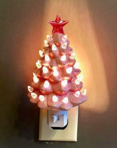 wholesale Decorative lowest online Ceramic Christmas Tree Night - Pink outlet online sale