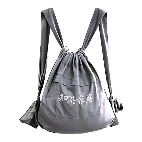 ZooBoo Unisex Buddhistische Tasche Mönch Rucksack – Buddhistische Shaolin Tempel Stickerei Kung Fu Tasche – Baumwolle und Canvas, grau (Grau) - A0-6S87-5FY2