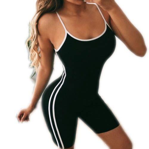 Jumpsuit - Pantalón corto de verano para mujer, deportivo, sexy, a la moda, elástico, sin mangas, color único, para fitness, deporte, yoga, ciclismo Negro  M