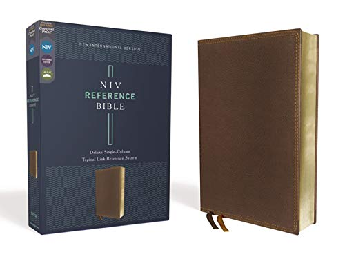 NIV, Reference Bible, Deluxe Single-Column, Leathersoft, Brown, Comfort Print