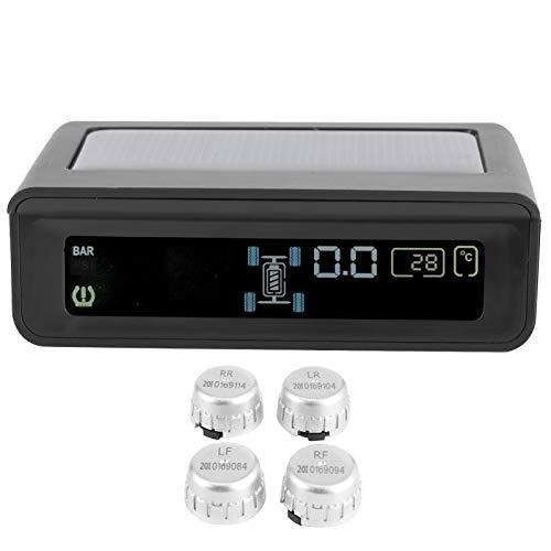 Akozon Sistema de Control de presión de neumáticos de Coche ABS Impermeable TPMS Detector de Monitor de presión de neumáticos inalámbrico con 4 sensores USB + Panel Solar