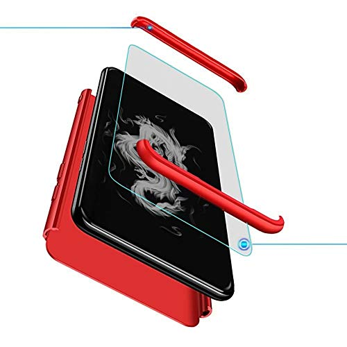 Compatible para Xiaomi Redmi Note 4X Funda(2017)+3D Vidrio Templado Protector de Pantalla/Caja Ultra Fina Silicona Caso Bumper 360° Protectora Cojín Carcasa para Xiaomi Redmi Note 4X-Rojo