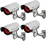 MOHAK 4PCS Dummy Drum CCTV Camera with Flashing Red Light