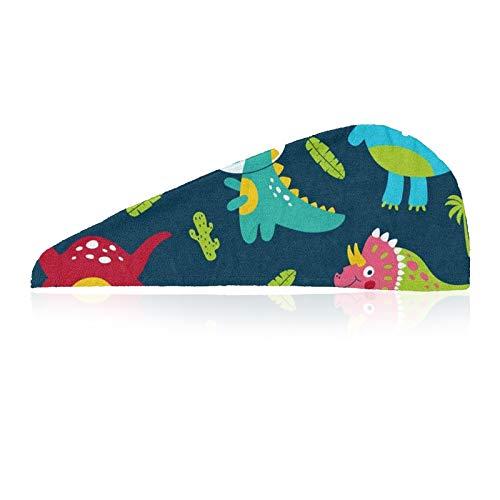 Samine Toalla de microfibra para el pelo, diseño de dinosaurios, cactus tropical, toalla de baño de microfibra