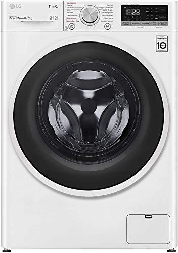 LG F4DT408AIDD Lavasciuga a Carica Frontale 8/5 Kg, Libera Installazione, 1400 Giri/min, Lavatrice e Asciugatrice con Intelligenza Artificiale e Funzione Vapore, 60 x 56 x 85 cm - Bianco