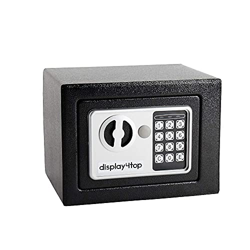 Caja fuerte electrónica electrónica pequeña de acero seguro con dos llaves (17 x 23 x 17 cm) contra incendios