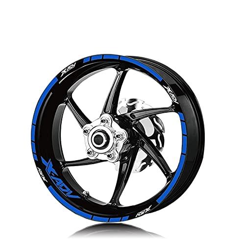 Etiqueta de la Rueda de la Motocicleta Rim Motorcycle Front Front TURE Tiene Logo Logo REFLEXIO DE FRANTE DE FRANTE DE FRANTE para Honda XADV X-AV XADV 750 (Color : XT LQ xadv BLU)