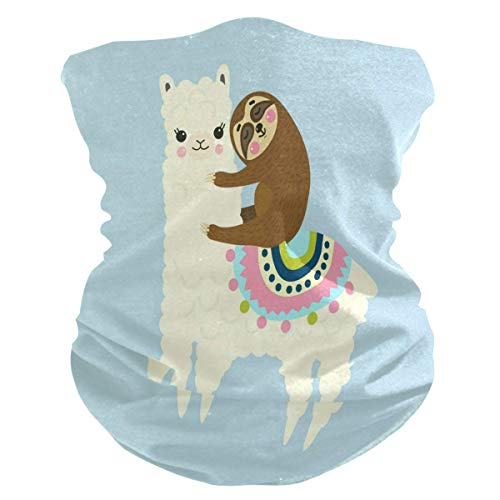 KDU Fashion Scarf hoofdband, Cartoon Lama Alpaca dier 12-in-1 hoofddeksel, lichte hals bivakmuts voor motorrijden skivissen