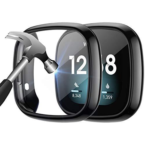 KIMILAR 2Pezzi Vetro Temperato Compatibile con Fitbit Versa 3 / Sense in, Protezione Schermo Custodia Pellicola Protettiva Compatibile con Fitbit Sense/Versa 3, Nero + Nero