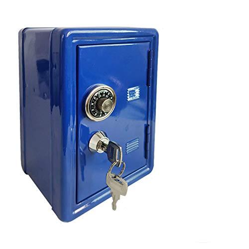 Yuan Ou Hucha Caja de Dinero Hucha Contraseña Monedas Digitales Depósito en Efectivo Seguridad para niños Caja Fuerte de Ahorro Azul