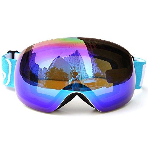Lixada Winter-Skibrille UV400-Schutz Zweilinsige Snowboardbrille Sphärische Skating Skifahren Sportbrille Abnehmbare Skibrille (A - Lila -7,5 × 4,3 Zoll)