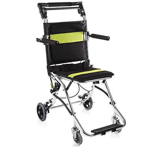 QiHaoHeji Aluminiumlegierung Rollstuhl Folding manuellen Rollstuhl Attendant Antrieb Rollstuhl Transportstuhl (Farbe : Black, Size : ONE Size)